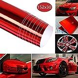 BangShou Pellicola Vinilica Adesiva in Fibra di Carbonio per l'Auto per Vernice Universale per Auto Fai-da-Te per Interni/Esterni (Rosso)