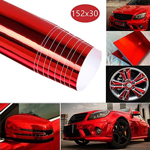 BangShou Spiegel Vinyl Wrap Film Auto Schutzfolie Universal Lackschutzfolie Lackschutzfolie DIY Auto Folie 152 x 30cm (Rot Spiegel Vinyl Wrap Film)