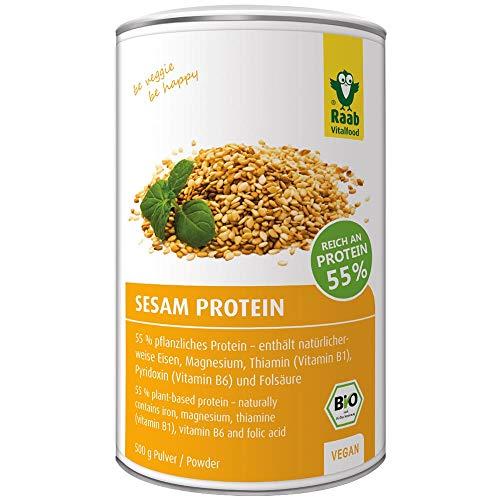 Raab Vitalfood Bio Sesam-Protein Pulver, rein pflanzliches Proteinpulver mit 55 % Eiweiß, aus biologischem Anbau, vegan, laborgeprüft, 500 Gramm