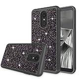 Zectoo for LG Stylo 4 Case 2018, LG Stylus 4 Case, LG Q Stylo Case, LG Stylo 4 Plus Case, Hybrid Sparkle Glitter Shiny Diamond Girls Cute Case - Black