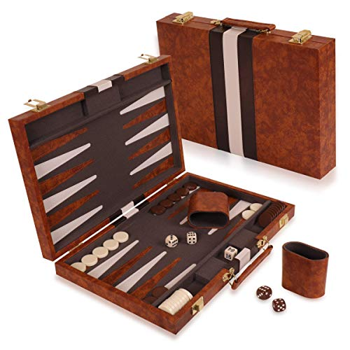"Kangaroo's 14.75"" Faux Leather Vinyl Backgammon Set; Favorite Board Game; Best in Classic Board Games"