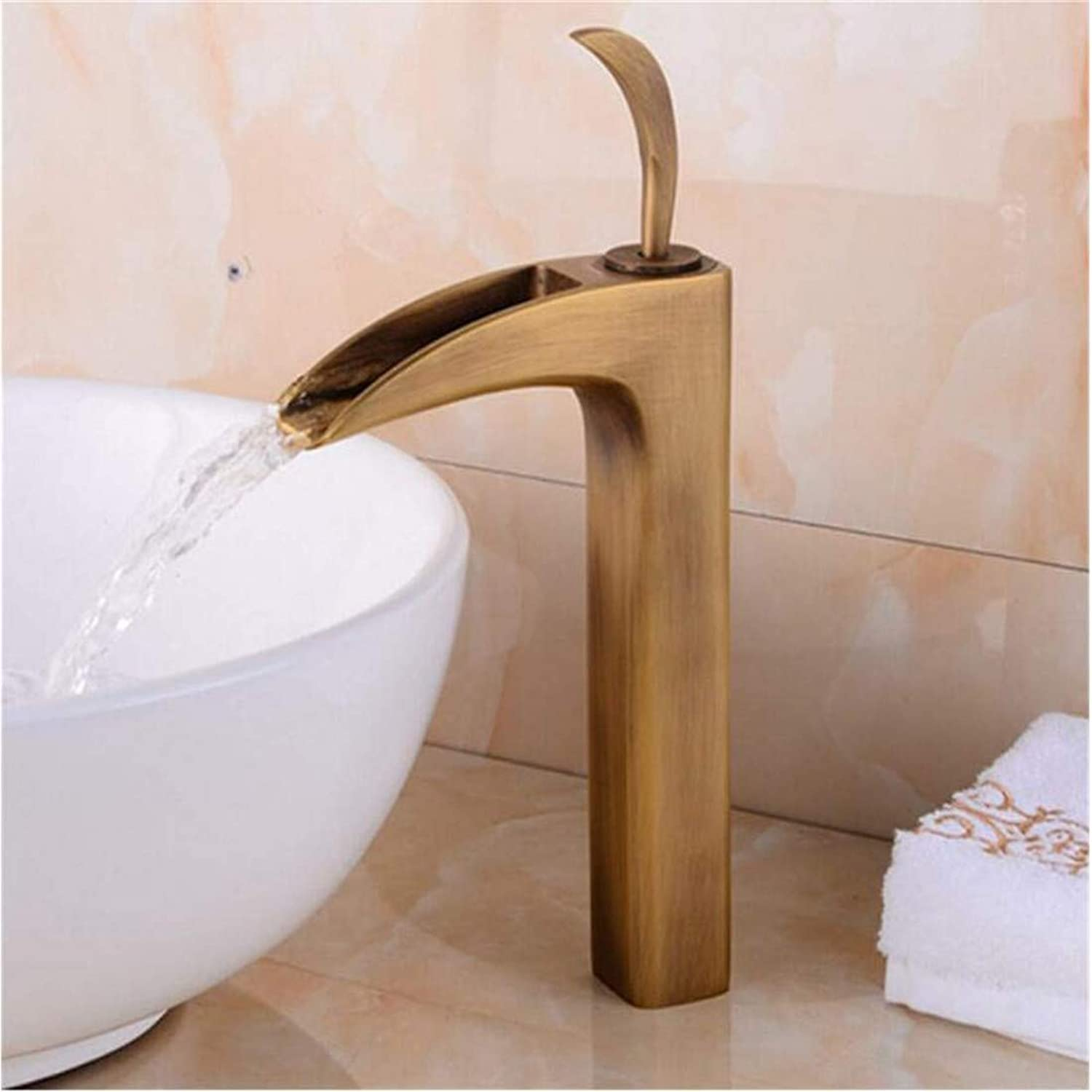Retro Kitchen Hot and Cold Water 360 Degree redation Faucet Head-Up Vanity Above Counter Basin Antique Hotel Basin Copper Metal Bathroom