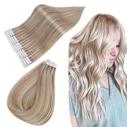 Easyouth Cheveux Bande Adhesive Rajout Bande Brun Moyen Mixte Blonde Cendrée Et Blond Miel Adhésif Extensions Human Hair Brazilian 100% Human Hair 40cm 40g 16pouce 20Pcs