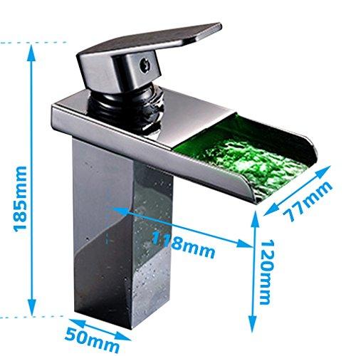 KINSE® Farbwechsel LED Verchromt Einhebelmischer Waschtischarmatur mit Temperatursensor Wasserhahn für Bad - 2