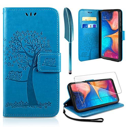 AROYI Samsung Galaxy A20e Hülle, Handyhülle Samsung Galaxy A20e Hülle Tasche Leder Flip Eule Baum Wallet Schutzhülle für Galaxy A20e Blau