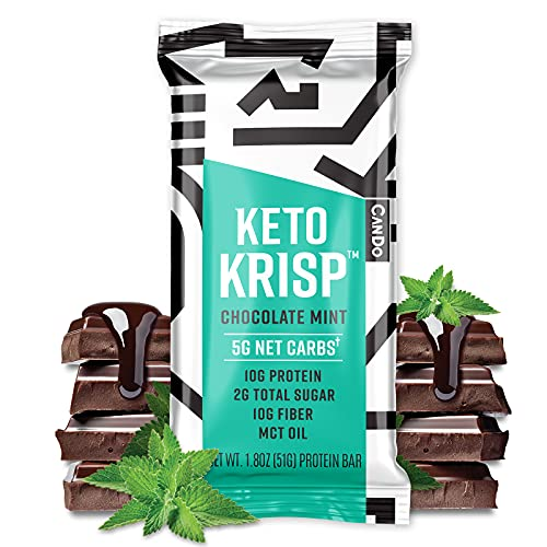 Keto Krisp Keto Bars - High Protein Crunchy And Delicious Low Carb, Low Sugar and Gluten Free Ketogenic Bar, Chocolate Mint Flavor (Pack of 12)