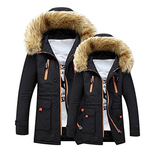 Todaies Unisex Outdoor Fur Wool Fieece Coat Women Warm Winter Coat Men Long Hood Coat Jacket (3XL, Black)