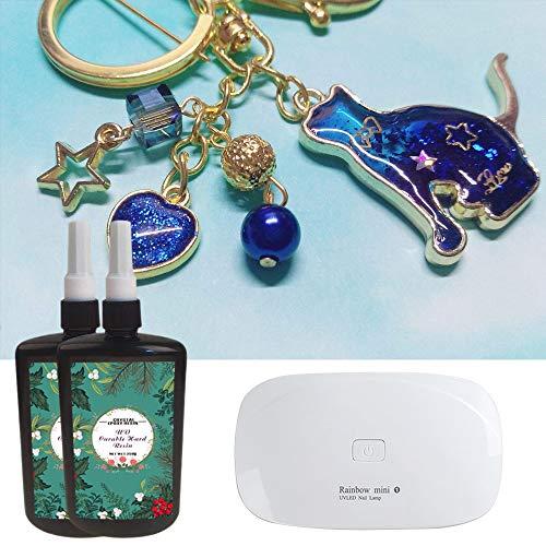 2x 250ML Resina epoxi UV-curable transparente kit con lámpara compacta UV portátil para hacer joyas joyería artesanía de resina DIY en casa, secado rápido no tóxico