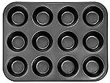 DIVCHI 12 Cups Muffin Tray - Nonstick BPA Free & Dishwasher Safe Cupcake Pan Black
