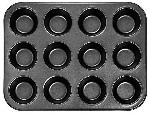 DIVCHI - Bandeja para magdalenas (12 tazas), antiadherente, sin BPA y apto para lavavajillas, color negro