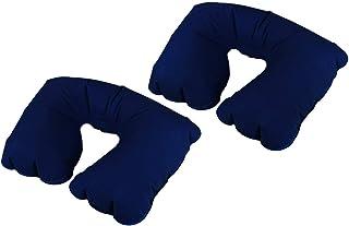 com-four® 2X Almohada Cervical Inflable para el Cuello - Práctico Cojín Reposacabezas para Inflar - Almohadilla de Viaje Ideal para el Camino (2 Piezas - Azul)