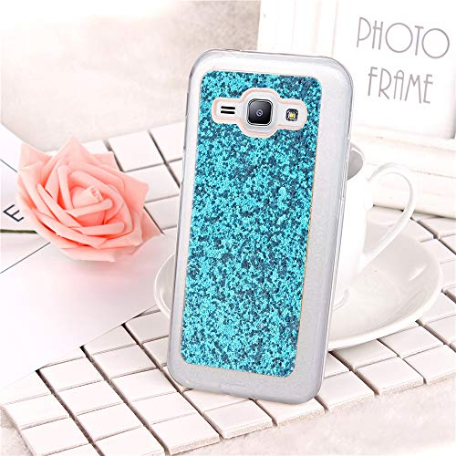 FNBK Kompatibel mit Samsung Galaxy J1 2015 Hülle, Glitzer TPU Silikon Handyhülle Ultra Dünn Stoßfest Handyhülle Schutzhülle für Samsung Galaxy J1 2015 Case, Blau