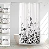 LEMOISTARS Fabric Shower Curtain for Bathroom Black and Grey Flower Painting Bathroom Curtain Machine Washable Waterproof Heavy Weighted with 12 Hooks 36x72Inch