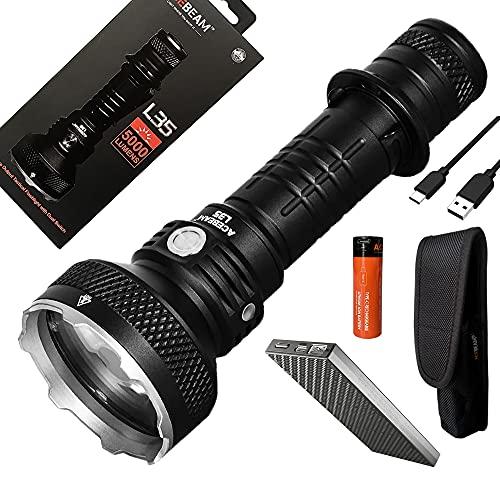 Combo: Acebeam L35 Dual Switch Linterna táctica - 5000 lúmenes - w/5100mAh 21700 batería y Eco-Sensa 10.000mAh Powerbank
