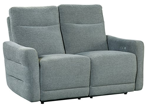 Homelegance Edition 57' Fabric Power Double Lay-Flat Reclining Loveseat, Dove