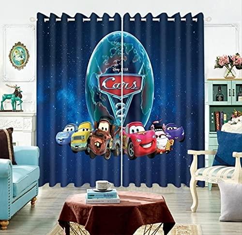 lubenwei Cortinas Opacas Cars Lightning Mcqueen Sally Mater 3 Cortinas de Ventana oscurecedoras con Aislamiento térmico para Dormitorio Sala de Estar 230(H) x140(W) Cmx2 Paneles/Set (B-952)
