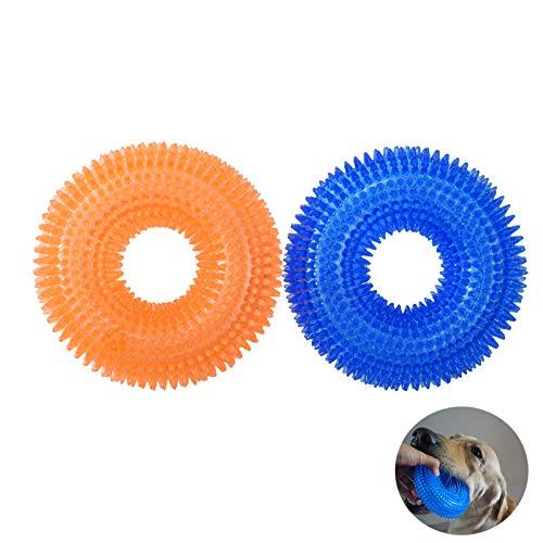 atopo Hunde Quietschspielzeug Groß Gummiring mit Quietscher Hunde Kauspielzeug Hüpfstacheliger Ring für Kleine Mittelgroße Hunde Welpe Kauen und SSpielen, 2 Stück