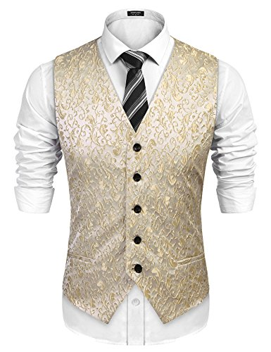 COOFANDY Mens V-Neck Sleeveless Slim Fit Jacket Casual Suit Vests, Fit Tuxedo Waistcoat for Party, Dinner, Prom, Wedding, Banquet,Golden,Medium