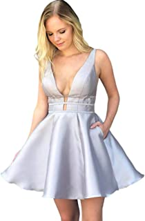JONLYC Sleeveless Deep V-Neck Satin Short Homecoming Dresses with Pockets