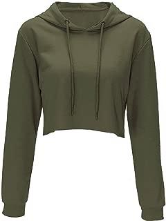 Women's Long Sleeve Crop Top Hoodie Workout Cropped Hoodie Pullover Sweatshirt