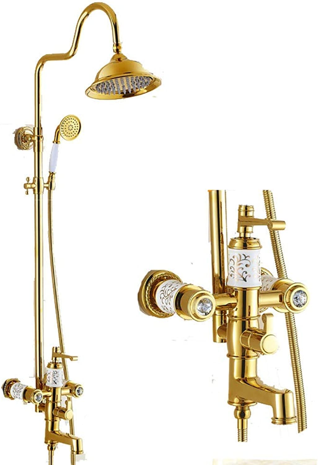Cxmm Shower Shower Systems Europisches Duschset zur Wandmontage, Messing, drehbare Handbrause zum Heben, Kalt-   Warmwasserhahn für Badezimmer (Farbe  Gold)