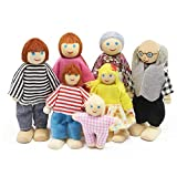 Wagoog Wooden Doll House Dolls, Happy Family Dolls House Furniture Accessories, Dolls People Playset for Dollhouse Kids Children Toy