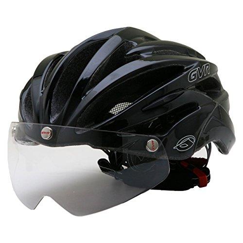 GVR G-307V サイクルヘルメット JCF公認 02 ソリッド/ブラック 54-60cm クリアシールド付 G-307V