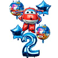 イタリアの 6PCS 3Dスーパーウイングバルーン・ジェット風船スーパーウイングおもちゃの誕生日パーティー32インチ数ジュエリー子供たち パーティー、誕生日、結婚式の装飾 (Color : Blue 2)