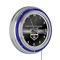 Trademark Global NHL Chrome Double Rung Neon Clock - Los Angeles Kings