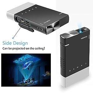 Mini Beamer, Vamvo Beamer Native 480P unterstützt 1080P, DLP Projektor Tragbar Eingebaute Batterie 360 ° Stativ Stereo-Lautsprecher kompatibel mit HDMI/ USB/ TF/ Micro SD, Video Beamer für Freien