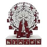 richingCAI Calendario de Adviento Forma de rueda de casa con cajones pequeños para poner dulces para niños Inicio Exquisito patrón de copo de nieve