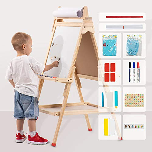 USELUCK Kids Easel with Paper Roll,Double-Sided Drawing Easel-Dry Erase Board & Chalkboard Standing Adjustable Height Drawing Easel Board,Children Easel Paint Set (L)
