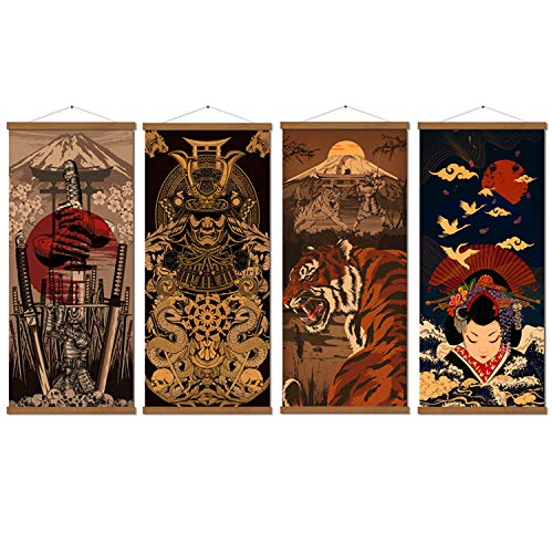 """4 Piece Japanese Warrior Canvas Wall Art Print Poster Samurai Painting Wooden Framed Ready to Hang Artwork for Wall Art Living Room Bedroom Karate Hall Sushi Restaurant Home Decorations 16""""x35"""""""