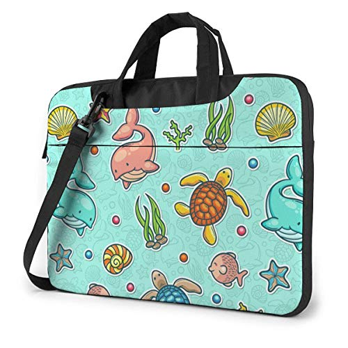 Laptop Bag Protective Notebook Computer Protective Cover Handbag Marine Colorful Whale Turtle Water Grass Pattern