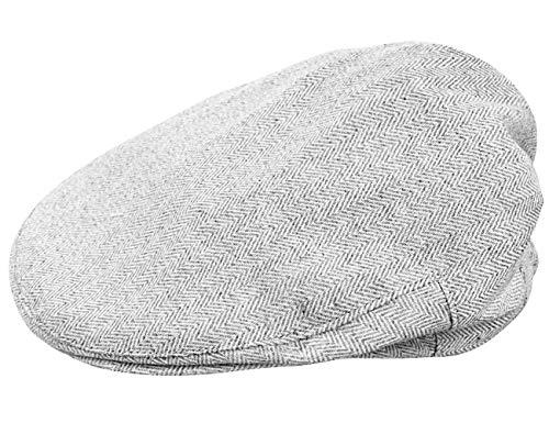 mintgreen Baby Fischgrätenmuster Flacher Hut Vintage Hut, Hellgrau, 0-6 Monate (Herstellergröße : 44)