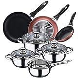 San Ignacio Batería de cocina 7 piezas en acero inoxidable + Set 3 sartenes Ø16/20/24 cm, aluminio prensado, aptas para inducción, PK3363
