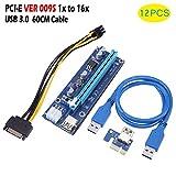 lzndeal 12-teilige PCI-E Riser-Karte 1x bis 16x USB 3.0 VER 009S Mining Extender Board für Bitcoin
