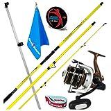 Fishing Evolution - Kit de cañas de pescar Surfcasting con caña GF Bora 450 + carrete GF Triumph. Incluye Towel + abrazadera para carrete