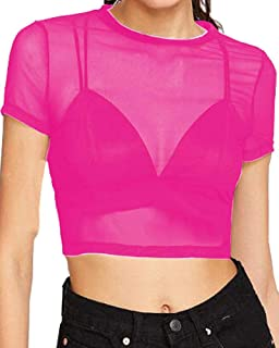 Women's Sheer Mesh Tee Blouse Short Sleeve Crop Tops