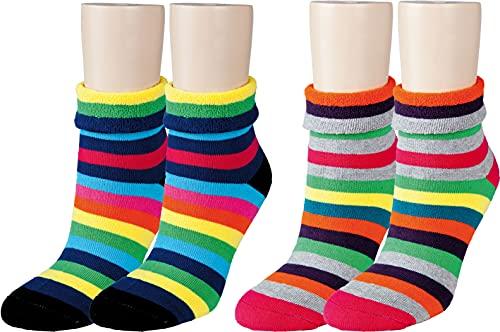 Vitasox Socken mit Umschlagrand für Damen, Thermosocken für kalte Tage ohne einschnüren am B&, warme Kuschelsocken mit Innenfrottee 12790 (71106), bunte Ringe, rosa, schwarz, 2 Paar, 35-38