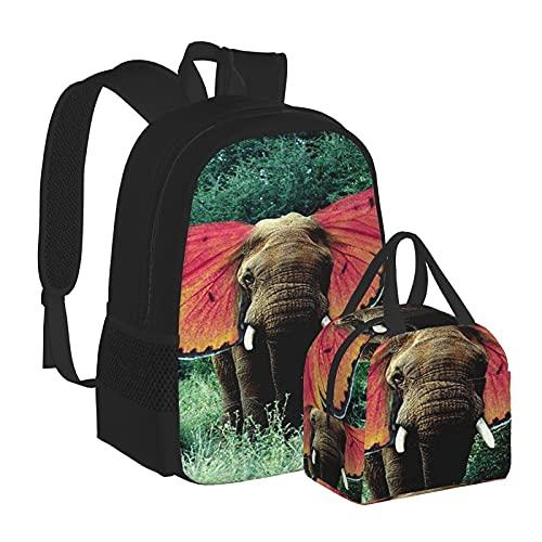 Weed Africa Elefante con ali di Farfalla Borsa per il Pranzo e Zaino Combinazione Unisex Bookbag Viaggio Zainetto Portatile Borsa Da Cena Borsa Per Il Pranzo Borsa