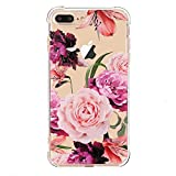 luolnh iPhone 7 Plus Case with flowers,iPhone 8 Plus Case, Slim Shockproof Clear Floral Pattern Soft Flexible TPU Back Cover [5.5 inch] -Purple Rose