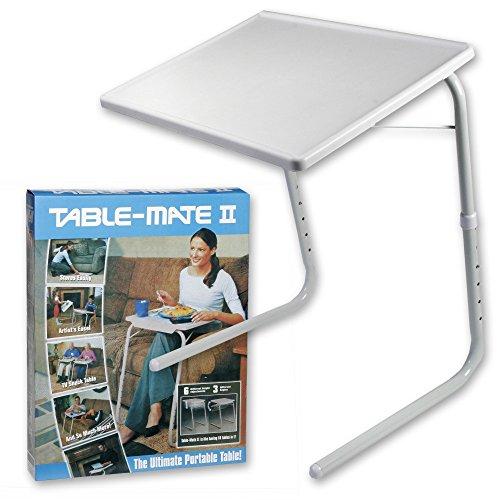 KENEX Mesa Auxiliar Plegable Color Blanco Medidas: Largo: 52 cm Ancho: 39 cm Alto: 70 cm Soporte hasta 25kg, 6 Niveles