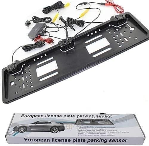 AntDau71 - Porta targa per auto con telecamera posteriore hd led e sensori di parcheggio visione notturna retromarcia per parcheggio per veicoli europei cw237