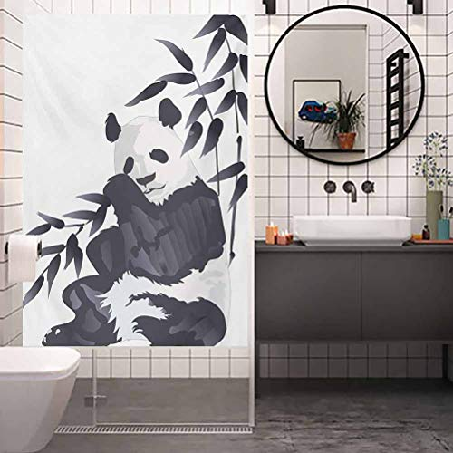 Stained Glass Window Film, Panda Giant Panda Bear Sitting in Zoo Traditional Chine, Non Adhesive No Residue Easy Trim Films for Sun Blocking, W23.6xH78.7 Inch