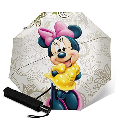 Mickey Cartoon Mouse Minnie Paraguas automático portátil de tres pliegues, cortavientos impermeable anti-UV, paraguas plegable automático de apertura/cierre compacto y portátil