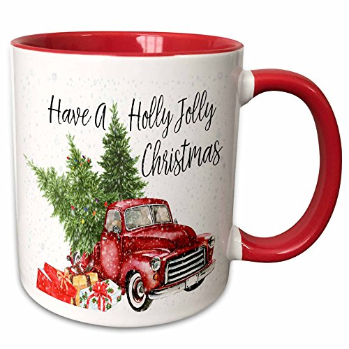 3dRose Have A Holly Jolly Truck with Christmas Trees Ceramic Mug, 11 oz, Red/White