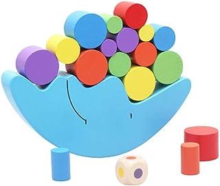 Wooden Stacking Blocks Balancing Game,Moon Equilibrium Game,Sorting Toy Balancing Moon Toy for Kids, Babies, Girls, Boys
