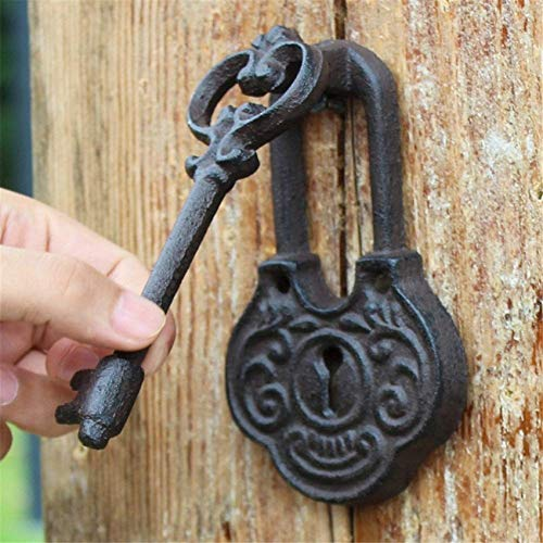 Cast Iron Antique Style Key Shaped Cast Iron Decorative Door Knocker, Vintage Rustic Raw Iron Handle for Country Cottage Patio Courtyard Townhouse Manor Front Door Hardware Decoration Cast Iron Doorb