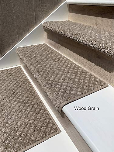 "Oak Valley Designs Carpet Stair Treads - Style: Bayside Charm (27"" Set of 14, Wood Grain)"